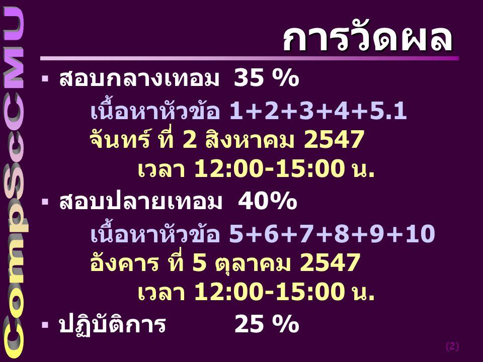 (2) การวัดผล  สอบกลางเทอม 35 % เนื้อหาหัวข้อ 1+2+3+4+5.1 จันทร์ ที่ 2 สิงหาคม 2547 เวลา 12:00-15:00 น.  สอบปลายเทอม 40% เนื้อหาหัวข้อ 5+6+7+8+9+10 อ