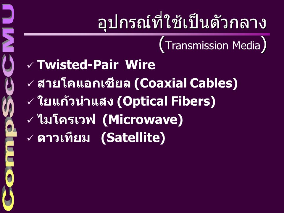 ทิศทางการส่งสัญญาณ (Direction of Transmission) ü การส่งสัญญาณทางเดียว (Simplex หรือ SPX) การส่งสัญญาณทางเดียว ü การส่งสัญญาณกึ่งทางคู่ (Half-Duplex หรือ FDX) ü การส่งสัญญาณทางคู่สมบูรณ์ (Full- Duplex หรือ FDX)
