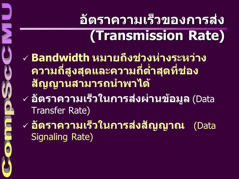 อัตราความเร็วในการส่งผ่านข้อมูล (Data Transfer Rate) ü อัตราส่วนที่แสดงถึงปริมาณข้อมูลที่ส่งผ่านไปได้ใน หนึ่งหน่วยเวลา ü มีหน่วยเป็น Bits Per Second (BPS) ตัวอย่างเช่น –อัตราความเร็วในการส่งข้อมูลเป็น 1,200 บิตต่อ วินาที หมายความว่า ในช่วงเวลา 1 วินาที มีข้อมูลส่งผ่าน ออกไปทั้งสิ้น 1,200 บิต