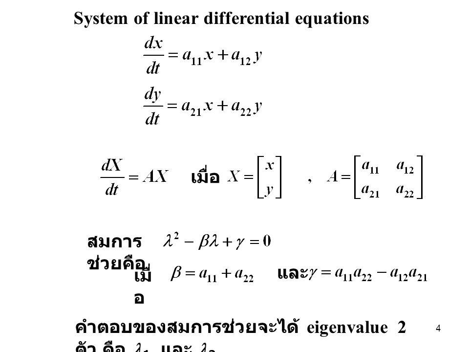 System of linear differential equations เมื่อ สมการ ช่วยคือ เมื่ อ และ คำตอบของสมการช่วยจะได้ eigenvalue 2 ตัว คือ 1 และ 2 4
