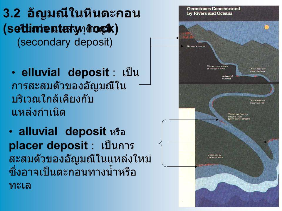 3.2 อัญมณีในหินตะกอน (sedimentary rock) elluvial deposit : เป็น การสะสมตัวของอัญมณีใน บริเวณใกล้เคียงกับ แหล่งกำเนิด alluvial deposit หรือ placer deposit : เป็นการ สะสมตัวของอัญมณีในแหล่งใหม่ ซึ่งอาจเป็นตะกอนทางน้ำหรือ ทะเล เรียกว่า แหล่งทุติยภูมิ (secondary deposit)