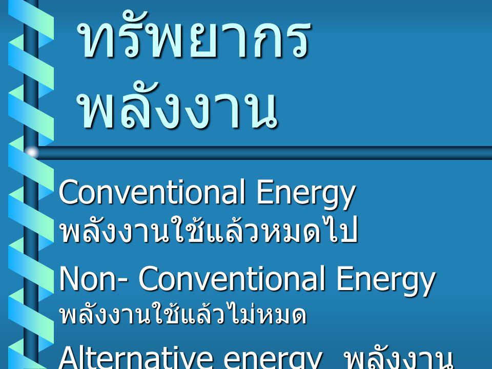 ทรัพยากร พลังงาน Conventional Energy พลังงานใช้แล้วหมดไป Non- Conventional Energy พลังงานใช้แล้วไม่หมด Alternative energy พลังงาน ทดแทน
