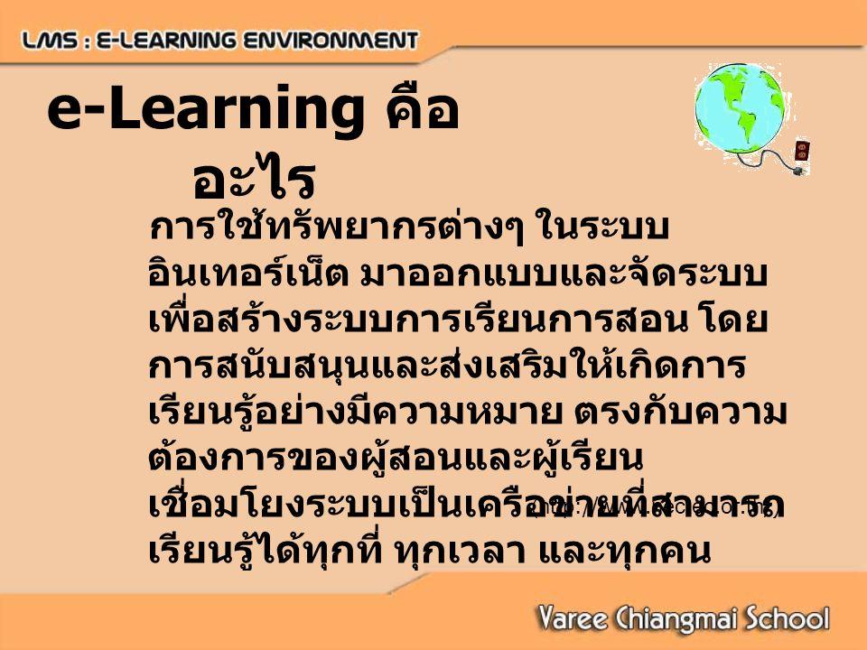 e-Learning คือ อะไร การใช้ทรัพยากรต่างๆ ในระบบ อินเทอร์เน็ต มาออกแบบและจัดระบบ เพื่อสร้างระบบการเรียนการสอน โดย การสนับสนุนและส่งเสริมให้เกิดการ เรียนรู้อย่างมีความหมาย ตรงกับความ ต้องการของผู้สอนและผู้เรียน เชื่อมโยงระบบเป็นเครือข่ายที่สามารถ เรียนรู้ได้ทุกที่ ทุกเวลา และทุกคน (http://www.nectec.or.th/)