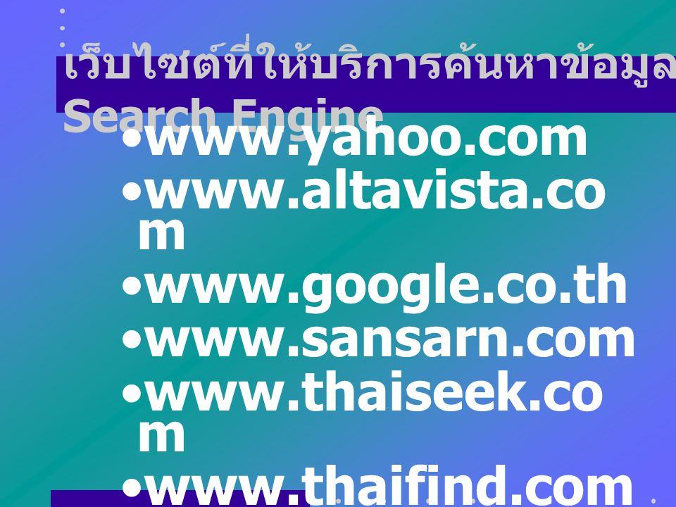 เว็บไซต์ที่ให้บริการค้นหาข้อมูล Search Engine www.yahoo.com www.altavista.co m www.google.co.th www.sansarn.com www.thaiseek.co m www.thaifind.com www.sanook.com