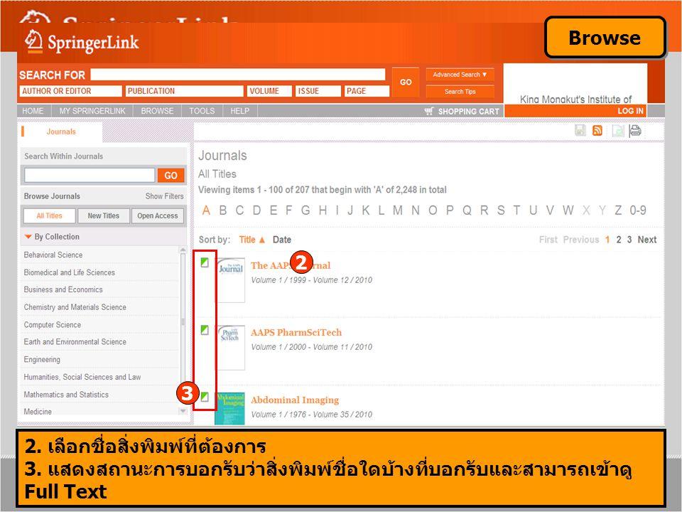 2 Browse 2. เลือกชื่อสิ่งพิมพ์ที่ต้องการ 3. แสดงสถานะการบอกรับว่าสิ่งพิมพ์ชื่อใดบ้างที่บอกรับและสามารถเข้าดู Full Text 3