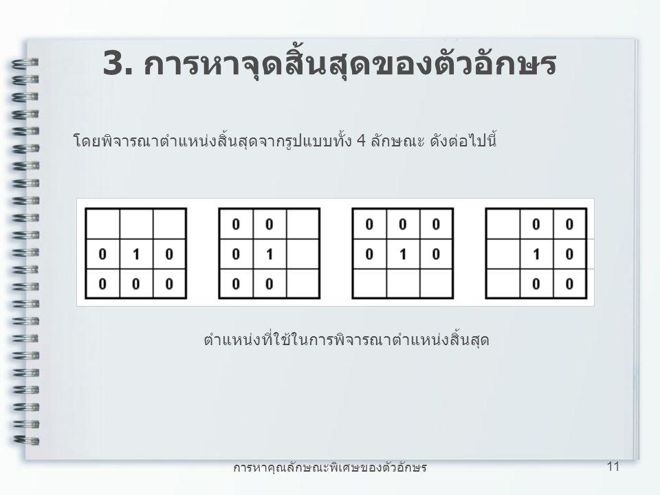 การหาคุณลักษณะพิเศษของตัวอักษร 11 3. การหาจุดสิ้นสุดของตัวอักษร โดยพิจารณาตำแหน่งสิ้นสุดจากรูปแบบทั้ง 4 ลักษณะ ดังต่อไปนี้ ตำแหน่งที่ใช้ในการพิจารณาตำ