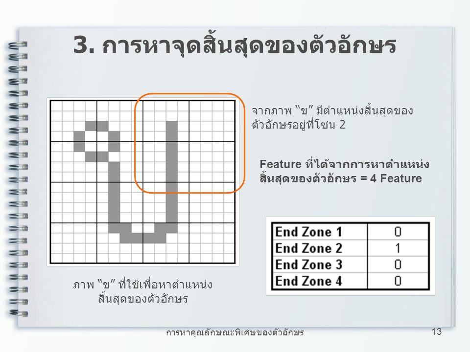 """การหาคุณลักษณะพิเศษของตัวอักษร 13 3. การหาจุดสิ้นสุดของตัวอักษร ภาพ """"ข"""" ที่ใช้เพื่อหาตำแหน่ง สิ้นสุดของตัวอักษร Feature ที่ได้จากการหาตำแหน่ง สิ้นสุดข"""