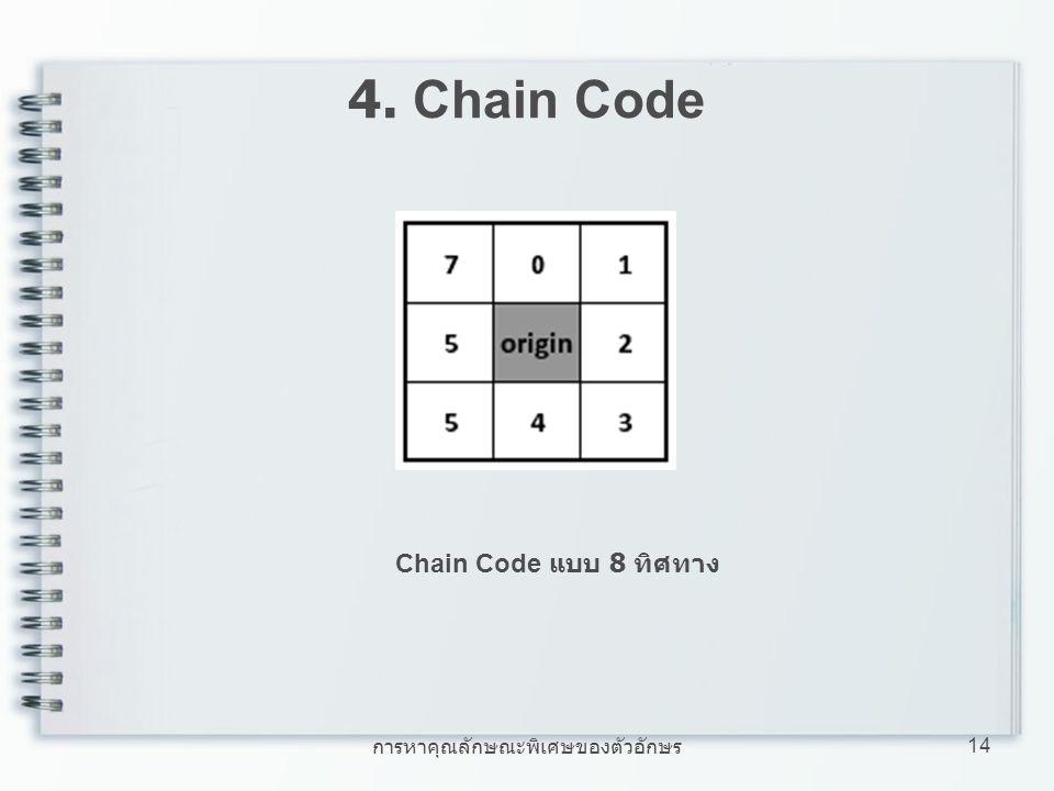 การหาคุณลักษณะพิเศษของตัวอักษร 14 4. Chain Code Chain Code แบบ 8 ทิศทาง