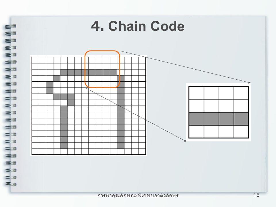 การหาคุณลักษณะพิเศษของตัวอักษร 15 4. Chain Code