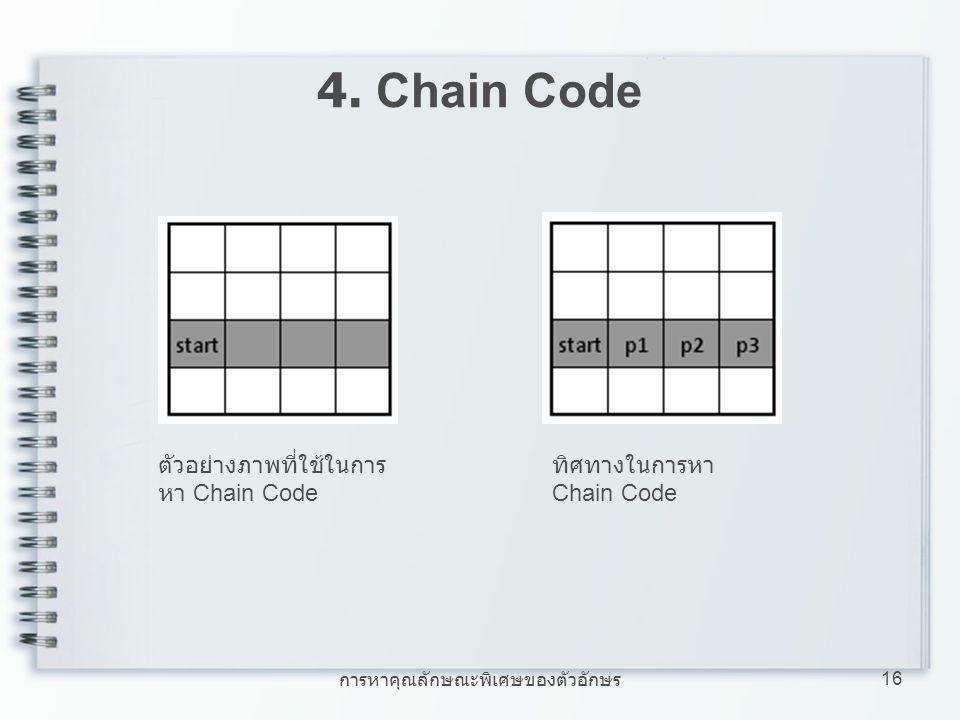 การหาคุณลักษณะพิเศษของตัวอักษร 16 4. Chain Code ตัวอย่างภาพที่ใช้ในการ หา Chain Code ทิศทางในการหา Chain Code