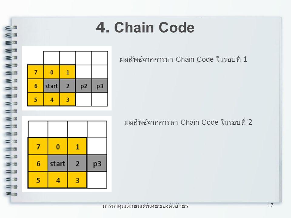 การหาคุณลักษณะพิเศษของตัวอักษร 17 4. Chain Code ผลลัพธ์จากการหา Chain Code ในรอบที่ 1 ผลลัพธ์จากการหา Chain Code ในรอบที่ 2