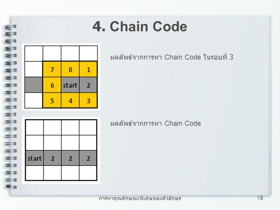 การหาคุณลักษณะพิเศษของตัวอักษร 18 4. Chain Code ผลลัพธ์จากการหา Chain Code ในรอบที่ 3 ผลลัพธ์จากการหา Chain Code