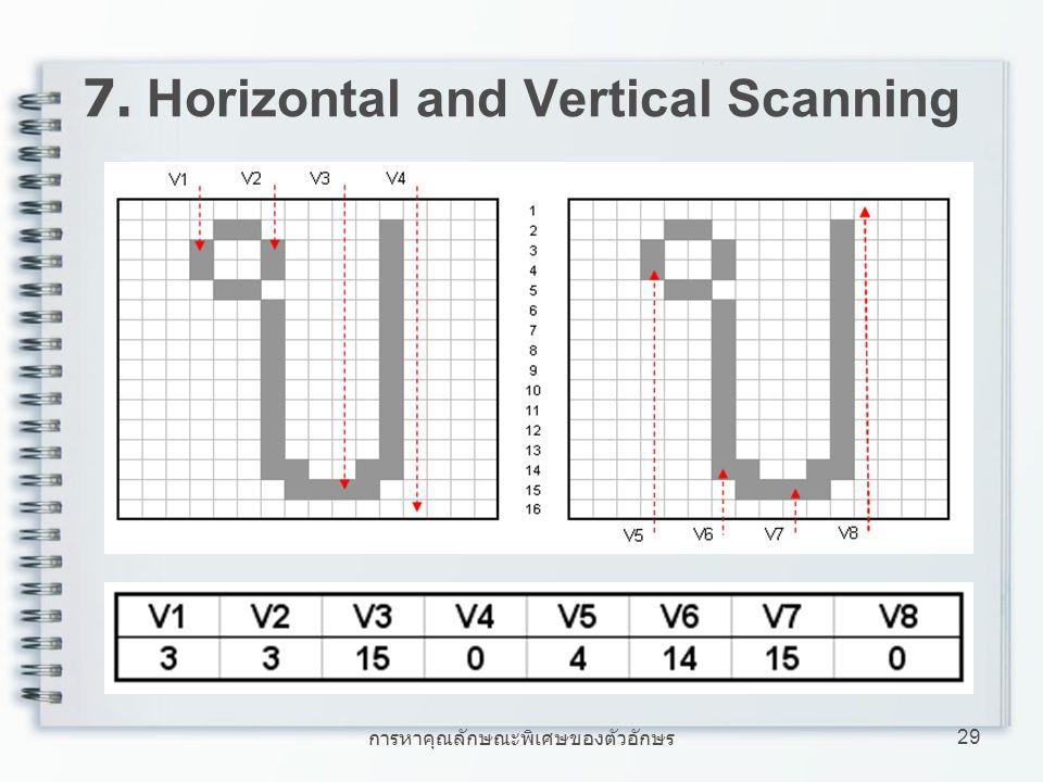 การหาคุณลักษณะพิเศษของตัวอักษร 29 7. Horizontal and Vertical Scanning