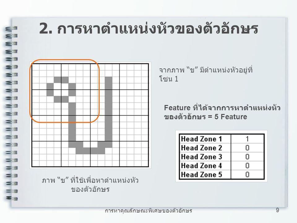 """การหาคุณลักษณะพิเศษของตัวอักษร 9 2. การหาตำแหน่งหัวของตัวอักษร ภาพ """"ข"""" ที่ใช้เพื่อหาตำแหน่งหัว ของตัวอักษร Feature ที่ได้จากการหาตำแหน่งหัว ของตัวอักษ"""