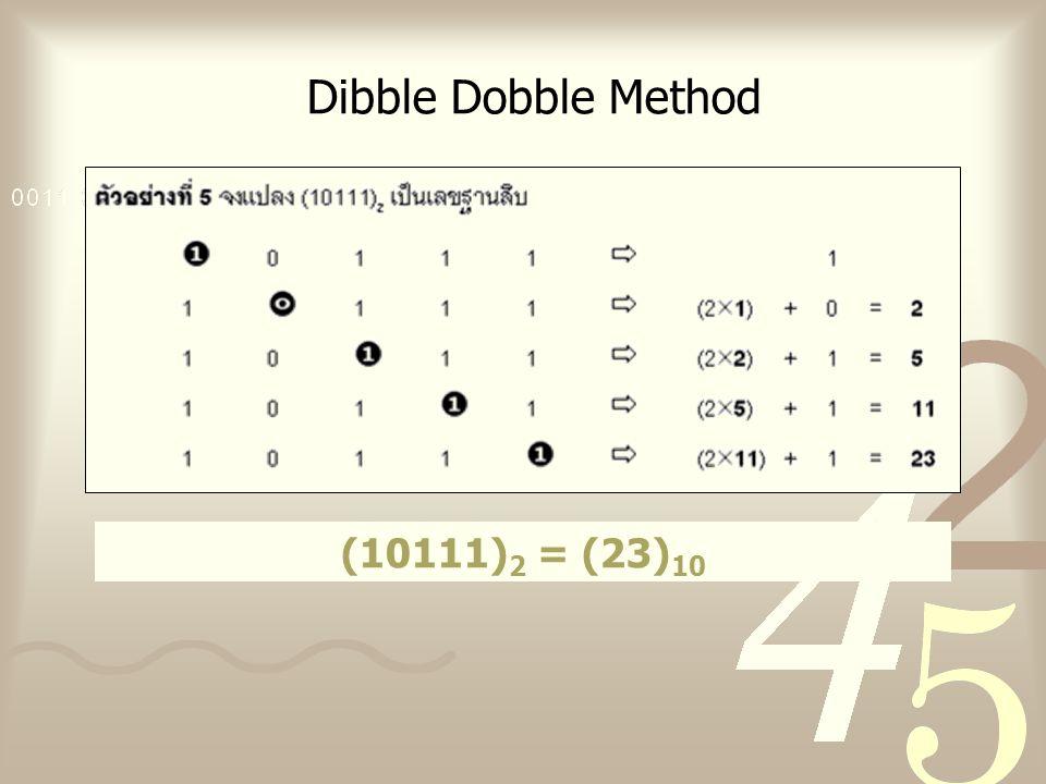 Dibble Dobble Method (10111) 2 = (23) 10