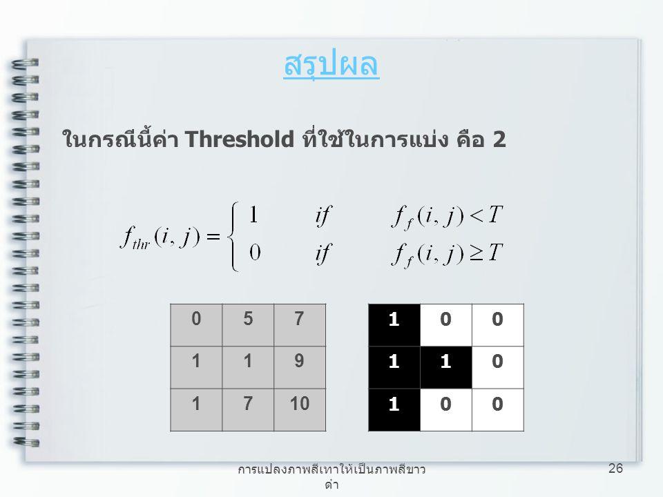 การแปลงภาพสีเทาให้เป็นภาพสีขาว ดำ 26 สรุปผล 057 119 1710 ในกรณีนี้ค่า Threshold ที่ใช้ในการแบ่ง คือ 2 100 110 100
