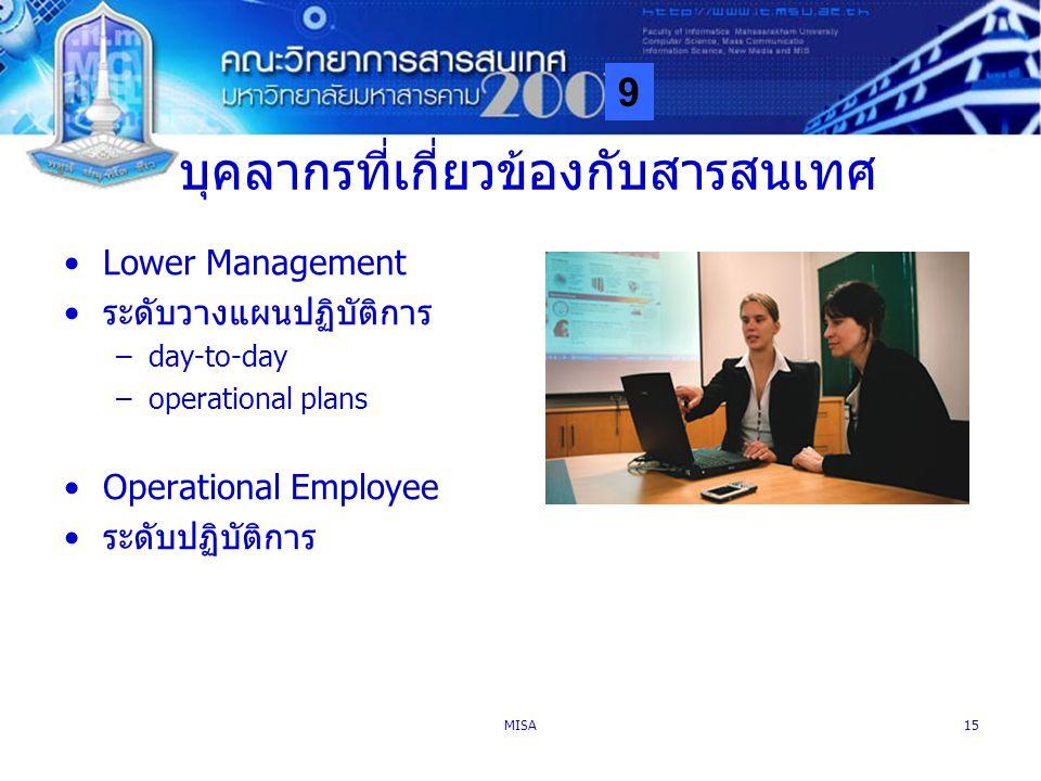 9 MISA15 บุคลากรที่เกี่ยวข้องกับสารสนเทศ Lower Management ระดับวางแผนปฏิบัติการ –day-to-day –operational plans Operational Employee ระดับปฏิบัติการ
