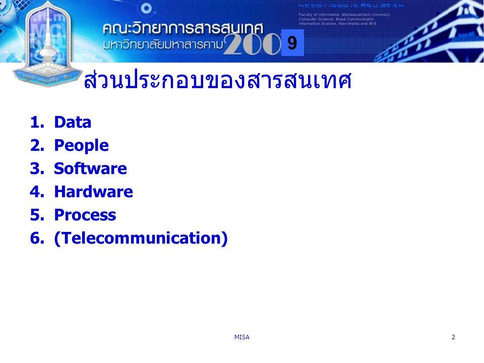 9 MISA2 ส่วนประกอบของสารสนเทศ 1.Data 2.People 3.Software 4.Hardware 5.Process 6.(Telecommunication)
