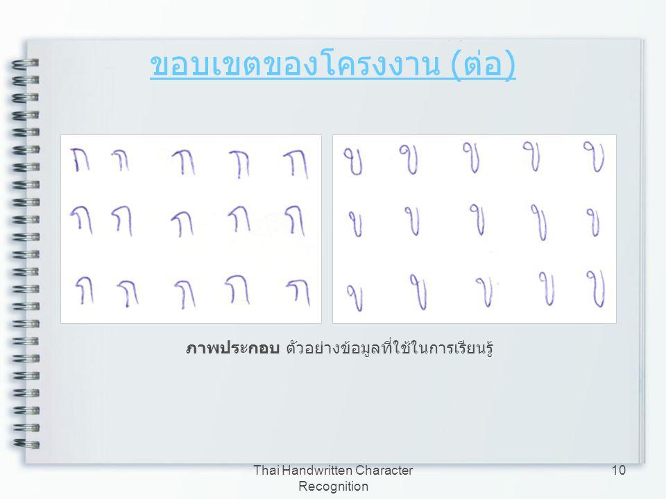 Thai Handwritten Character Recognition 10 ขอบเขตของโครงงาน ( ต่อ ) ภาพประกอบ ตัวอย่างข้อมูลที่ใช้ในการเรียนรู้
