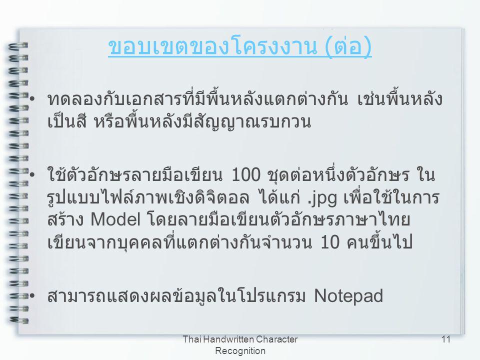 Thai Handwritten Character Recognition 11 ขอบเขตของโครงงาน ( ต่อ ) ทดลองกับเอกสารที่มีพื้นหลังแตกต่างกัน เช่นพื้นหลัง เป็นสี หรือพื้นหลังมีสัญญาณรบกวน