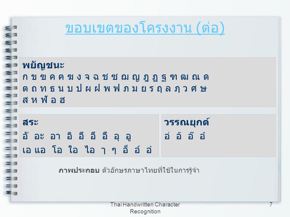 Thai Handwritten Character Recognition 8 ขอบเขตของโครงงาน ( ต่อ ) a b c d e f g h i j k l m n o p q r s t u v w x y z A B C D E F G H I J K L M N O P Q R S T U V W X Y Z ภาพประกอบ ตัวอักษรภาษาอังกฤษที่ใช้ในการรู้จำ 0 1 2 3 4 5 6 7 8 9 ภาพประกอบ ตัวเลขอารบิกที่ใช้ในการรู้จำ