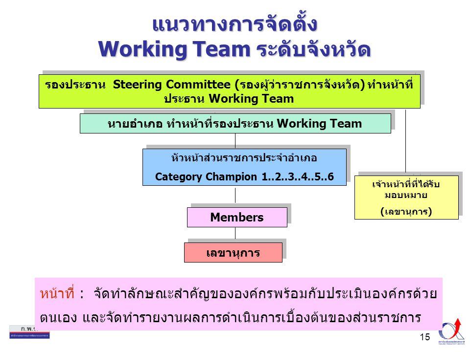 15 แนวทางการจัดตั้ง Working Team ระดับจังหวัด หน้าที่ : จัดทำลักษณะสำคัญขององค์กรพร้อมกับประเมินองค์กรด้วย ตนเอง และจัดทำรายงานผลการดำเนินการเบื้องต้นของส่วนราชการ หัวหน้าส่วนราชการประจำอำเภอ Category Champion 1..2..3..4..5..6 หัวหน้าส่วนราชการประจำอำเภอ Category Champion 1..2..3..4..5..6 Members รองประธาน Steering Committee (รองผู้ว่าราชการจังหวัด) ทำหน้าที่ ประธาน Working Team นายอำเภอ ทำหน้าที่รองประธาน Working Team เลขานุการ เจ้าหน้าที่ที่ได้รับ มอบหมาย (เลขานุการ) เจ้าหน้าที่ที่ได้รับ มอบหมาย (เลขานุการ)