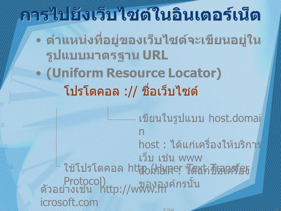 E-Mail12 การไปยังเว็บไซต์ในอินเตอร์เน็ต ตำแหน่งที่อยู่ของเว็บไซต์จะเขียนอยู่ใน รูปแบบมาตรฐาน URL (Uniform Resource Locator) โปรโตคอล :// ชื่อเว็บไซต์