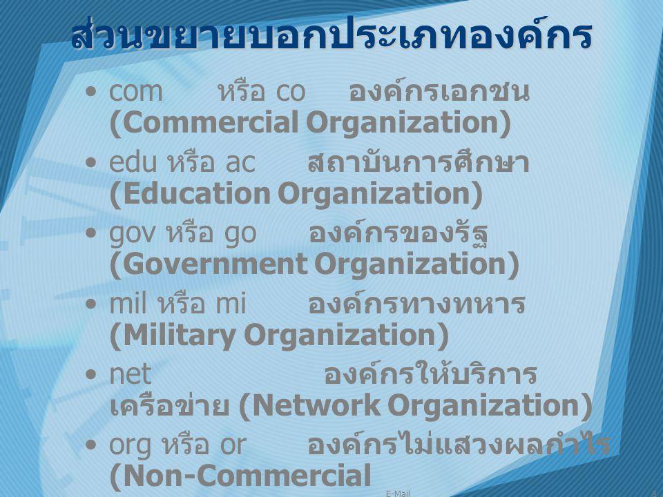 E-Mail8 ส่วนขยายบอกประเภทองค์กร com หรือ co องค์กรเอกชน (Commercial Organization) edu หรือ ac สถาบันการศึกษา (Education Organization) gov หรือ go องค์