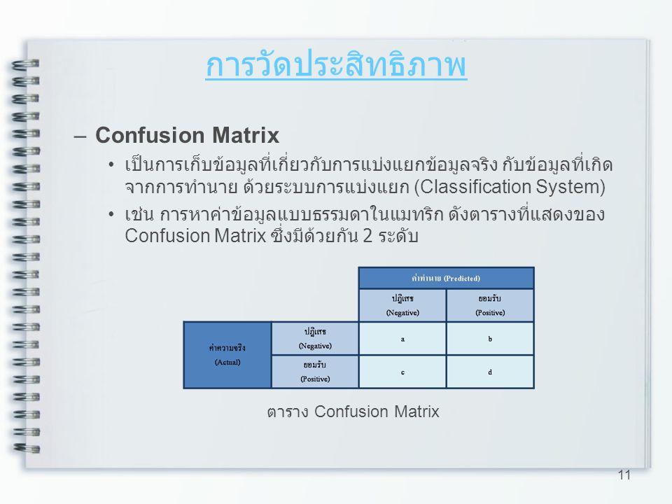 การวัดประสิทธิภาพ –Confusion Matrix เป็นการเก็บข้อมูลที่เกี่ยวกับการแบ่งแยกข้อมูลจริง กับข้อมูลที่เกิด จากการทำนาย ด้วยระบบการแบ่งแยก (Classification