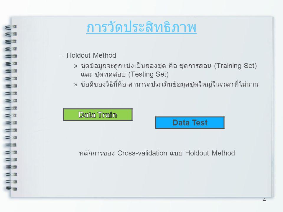 การวัดประสิทธิภาพ –Holdout Method » ชุดข้อมูลจะถูกแบ่งเป็นสองชุด คือ ชุดการสอน (Training Set) และ ชุดทดสอบ (Testing Set) » ข้อดีของวิธีนี้คือ สามารถปร