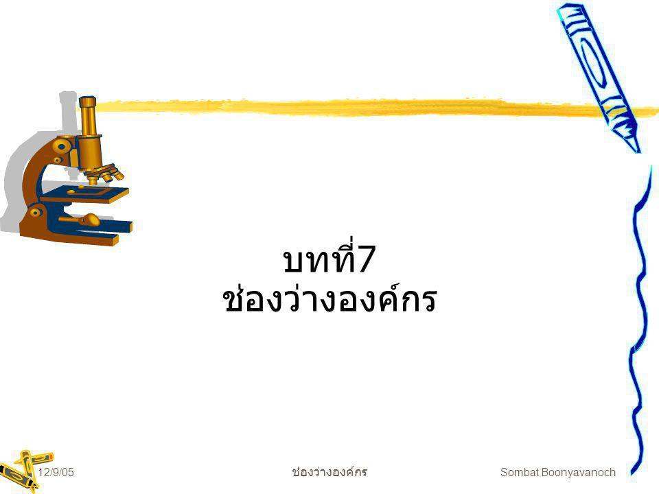 12/9/05 ช่องว่างองค์กร Sombat Boonyavanoch บทที่7 ช่องว่างองค์กร