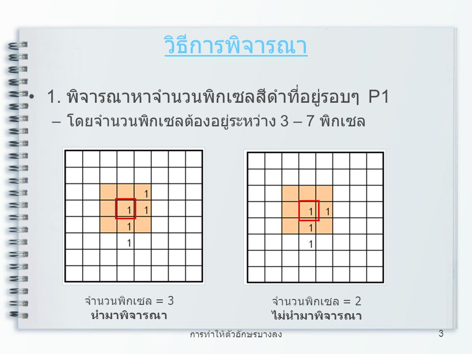 การทำให้ตัวอักษรบางลง 14 ตัวอย่างการทำตัวอักษรให้บาง ใช้ขั้นตอนที่ 1, 2, 4 พิจารณา รูปภาพ ภาพที่ได้จากการทำ Thinning