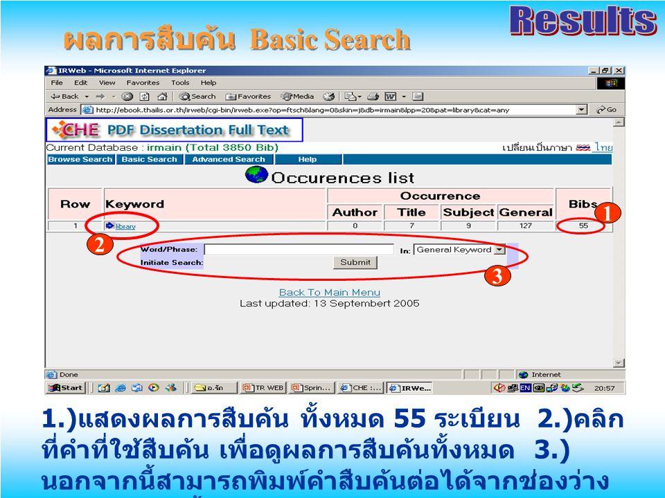ผลการสืบค้น Basic Search 1.) แสดงผลการสืบค้น ทั้งหมด 55 ระเบียน 2.) คลิก ที่คำที่ใช้สืบค้น เพื่อดูผลการสืบค้นทั้งหมด 3.) นอกจากนี้สามารถพิมพ์คำสืบค้นต่อได้จากช่องว่าง ข้างล่าง จากนั้นเลือกเขตข้อมูล และคลิก Submit 1 2 3