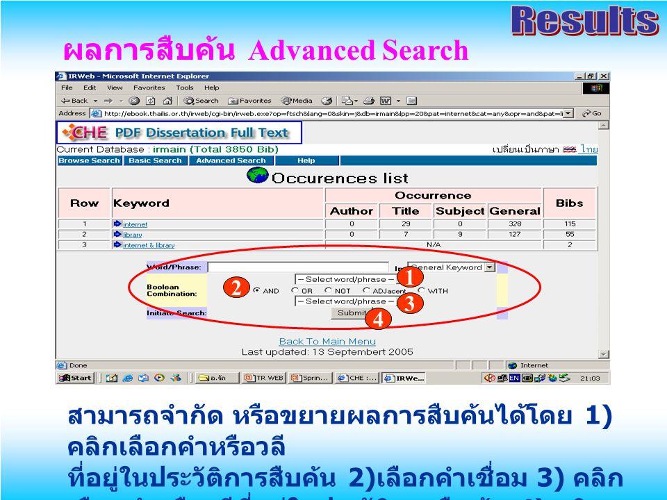 ผลการสืบค้น Advanced Search สามารถจำกัด หรือขยายผลการสืบค้นได้โดย 1) คลิกเลือกคำหรือวลี ที่อยู่ในประวัติการสืบค้น 2) เลือกคำเชื่อม 3) คลิก เลือกคำหรือ