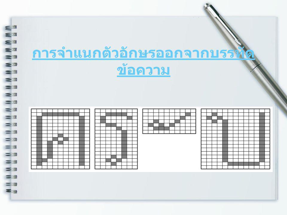 การจำแนกตัวอักษรออกจากบรรทัด ข้อความ