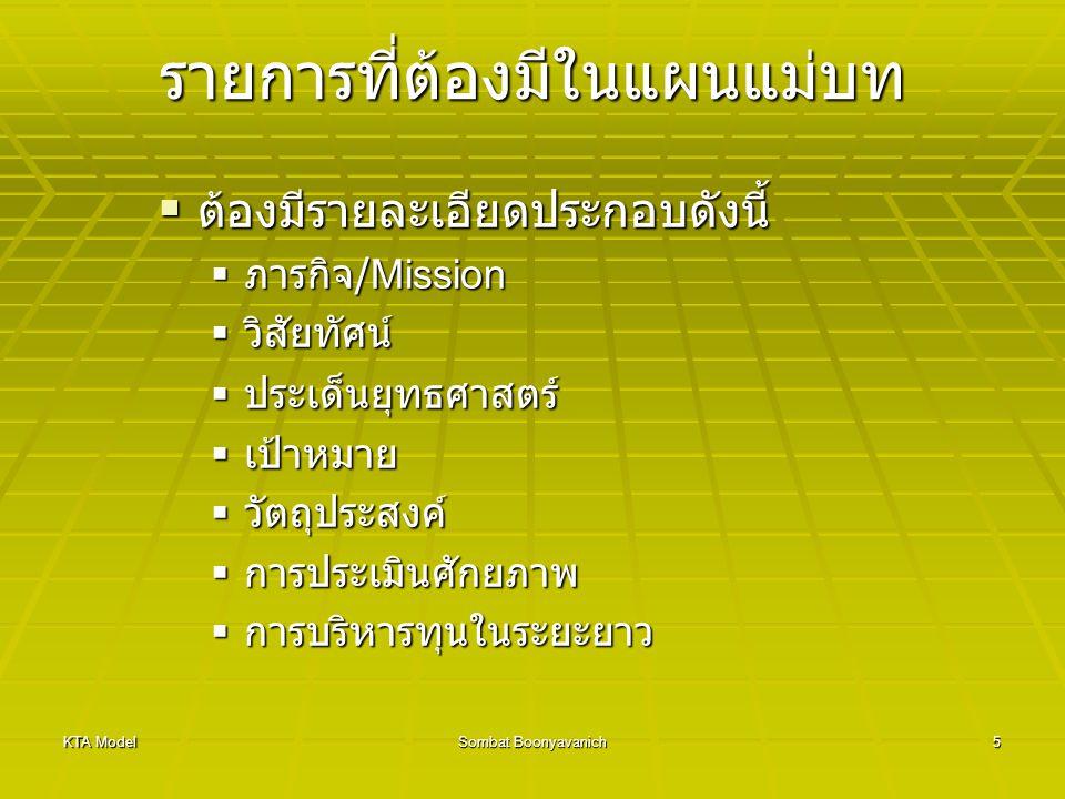 KTA ModelSombat Boonyavanich5 รายการที่ต้องมีในแผนแม่บท  ต้องมีรายละเอียดประกอบดังนี้  ภารกิจ /Mission  วิสัยทัศน์  ประเด็นยุทธศาสตร์  เป้าหมาย 