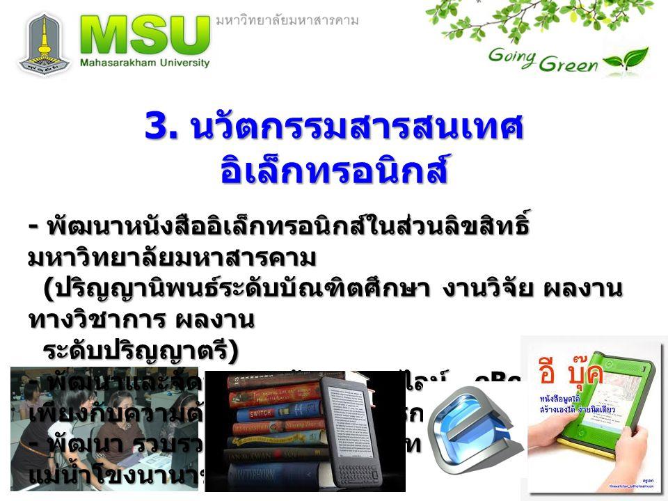 3. นวัตกรรมสารสนเทศ อิเล็กทรอนิกส์ - พัฒนาหนังสืออิเล็กทรอนิกส์ในส่วนลิขสิทธิ์ มหาวิทยาลัยมหาสารคาม ( ปริญญานิพนธ์ระดับบัณฑิตศึกษา งานวิจัย ผลงาน ทางว