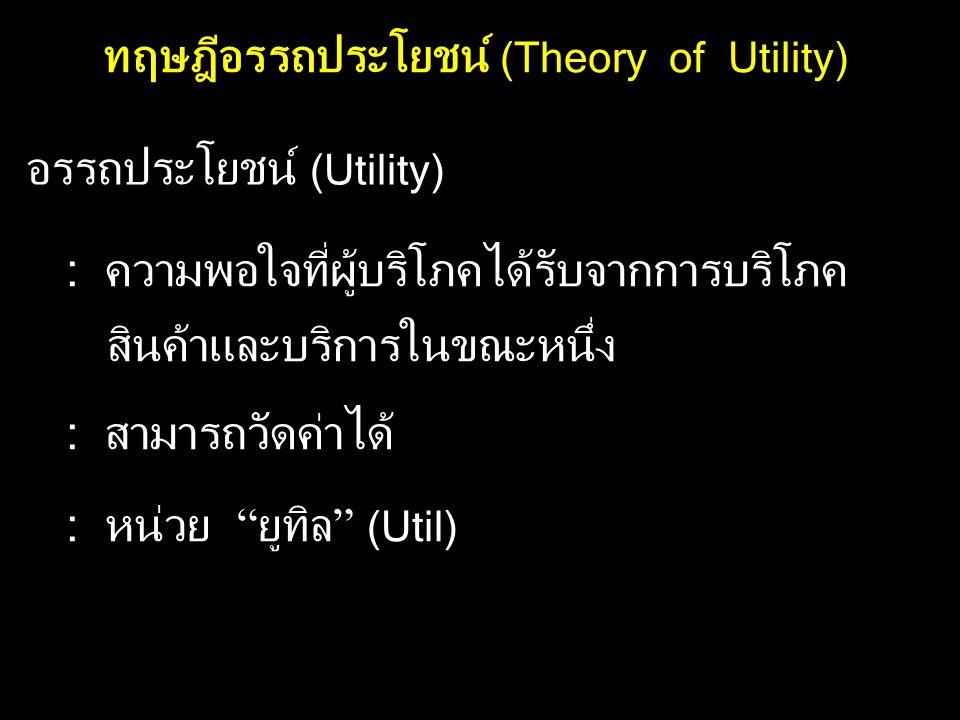 ทฤษฎีอรรถประโยชน์ (Theory of Utility) อรรถประโยชน์ (Utility) : ความพอใจที่ผู้บริโภคได้รับจากการบริโภค สินค้าและบริการในขณะหนึ่ง : สามารถวัดค่าได้ : หน