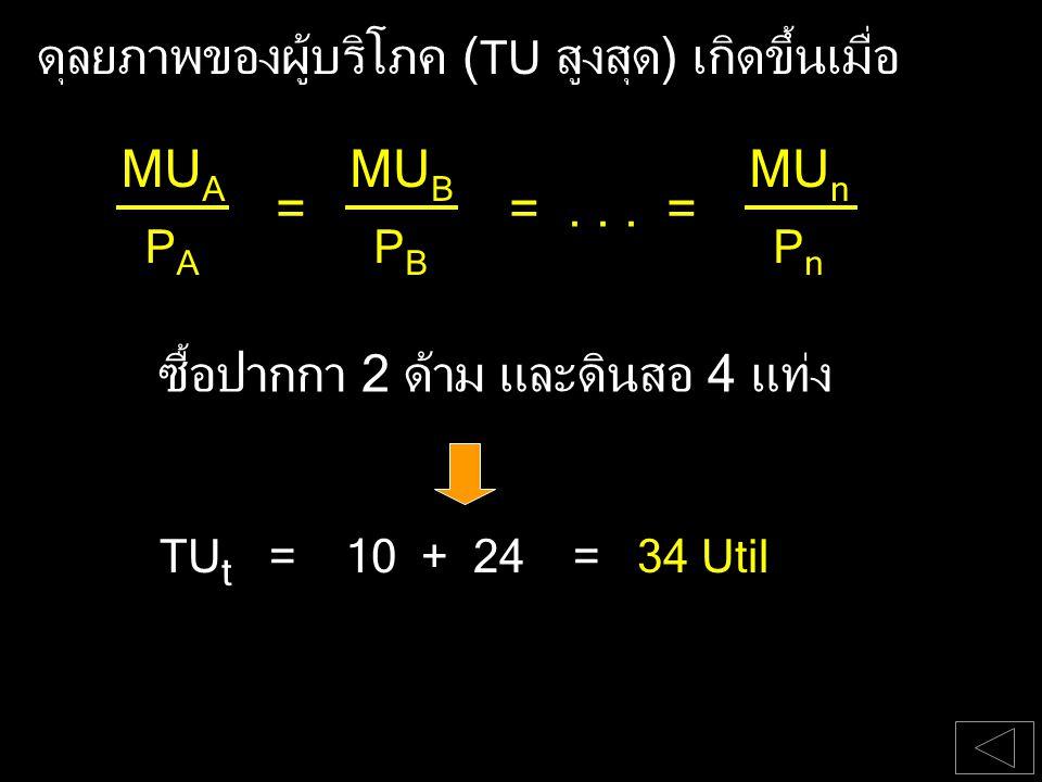 ดุลยภาพของผู้บริโภค ( TU สูงสุด) เกิดขึ้นเมื่อ ซื้อปากกา 2 ด้าม และดินสอ 4 แท่ง TU t = 10 + 24 = 34 Util PAPA MU A ==... = PBPB MU B PnPn MU n