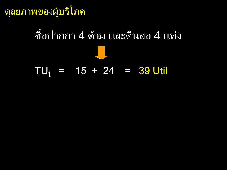 ซื้อปากกา 4 ด้าม และดินสอ 4 แท่ง TU t = 15 + 24 = 39 Util ดุลยภาพของผู้บริโภค