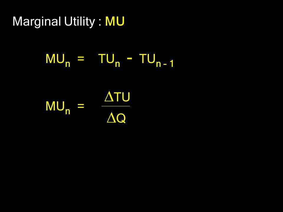 Marginal Utility : MU MU n = TU n - TU n – 1 MU n =  TU QQ