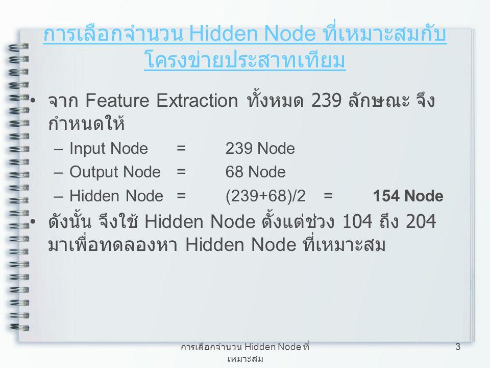 การเลือกจำนวน Hidden Node ที่ เหมาะสม 3 การเลือกจำนวน Hidden Node ที่เหมาะสมกับ โครงข่ายประสาทเทียม จาก Feature Extraction ทั้งหมด 239 ลักษณะ จึง กำหน