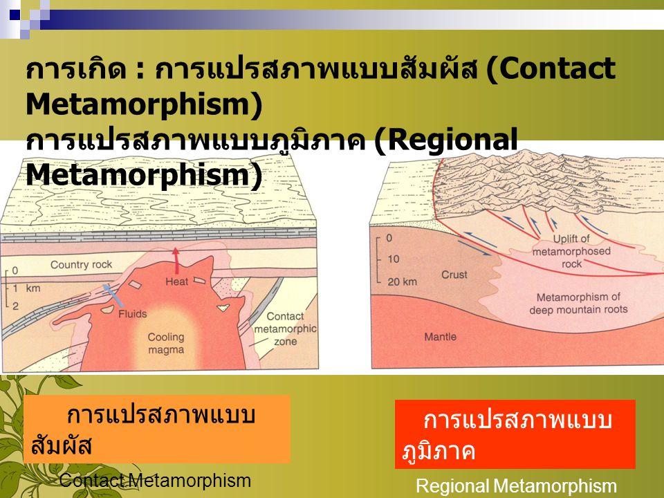 การแปรสภาพแบบ สัมผัส Contact Metamorphism การแปรสภาพแบบ ภูมิภาค Regional Metamorphism การเกิด : การแปรสภาพแบบสัมผัส (Contact Metamorphism) การแปรสภาพแ