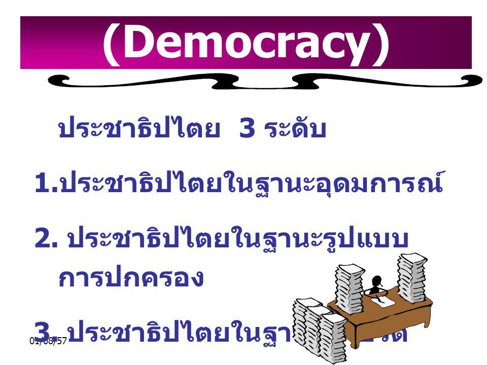 01/08/57 ประชาธิปไตย 3 ระดับ 1. ประชาธิปไตยในฐานะอุดมการณ์ 2. ประชาธิปไตยในฐานะรูปแบบ การปกครอง 3. ประชาธิปไตยในฐานะวิถีชีวิต ประชาธิปไตย (Democracy)