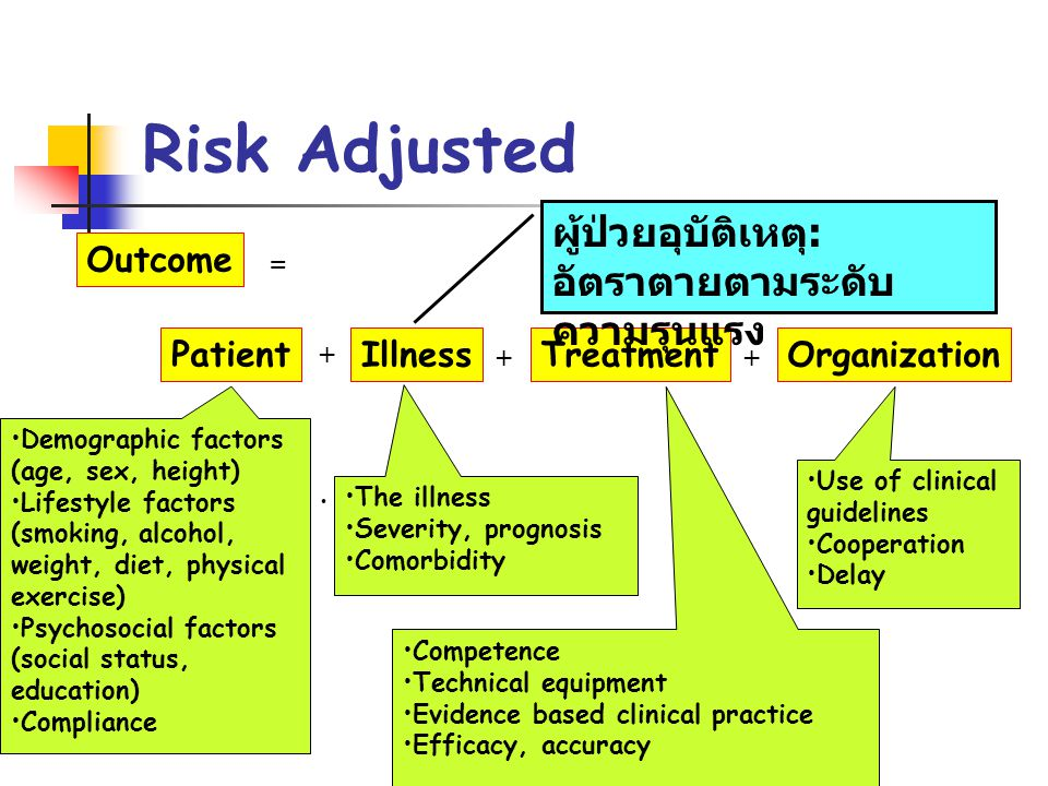 Risk Adjusted · Outcome Patient IllnessTreatmentOrganization = + ++ Use of clinical guidelines Cooperation Delay The illness Severity, prognosis Comor