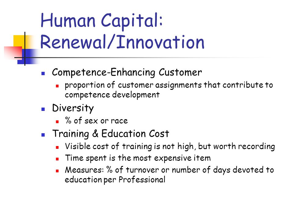 Human Capital: Renewal/Innovation Competence-Enhancing Customer proportion of customer assignments that contribute to competence development Diversity