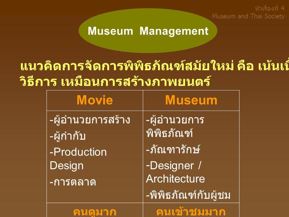 แนวคิดการจัดการพิพิธภัณฑ์สมัยใหม่ คือ เน้นเนื้อหาหรือเรื่องราว วิธีการ เหมือนการสร้างภาพยนตร์ MovieMuseum - ผู้อำนวยการสร้าง - ผู้กำกับ -Production Design - การตลาด - ผู้อำนวยการ พิพิธภัณฑ์ - ภัณฑารักษ์ -Designer / Architecture - พิพิธภัณฑ์กับผู้ชม คนดูมากคนเข้าชมมาก Museum Management หัวเรื่องที่ 4 Museum and Thai Society