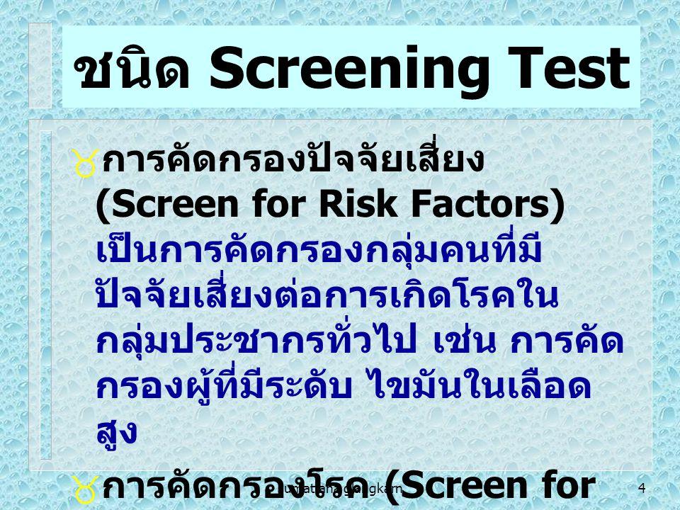 sumattana glangkarn45 Criteria for screening program  The condition should be an important health problem.