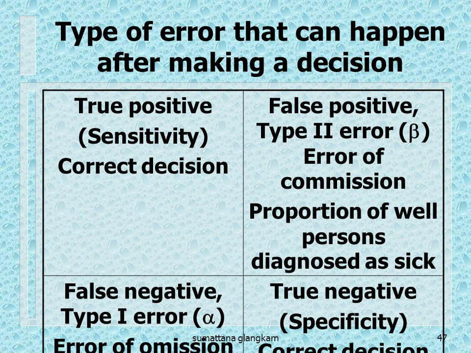 sumattana glangkarn47 Type of error that can happen after making a decision True positive (Sensitivity) Correct decision False positive, Type II error