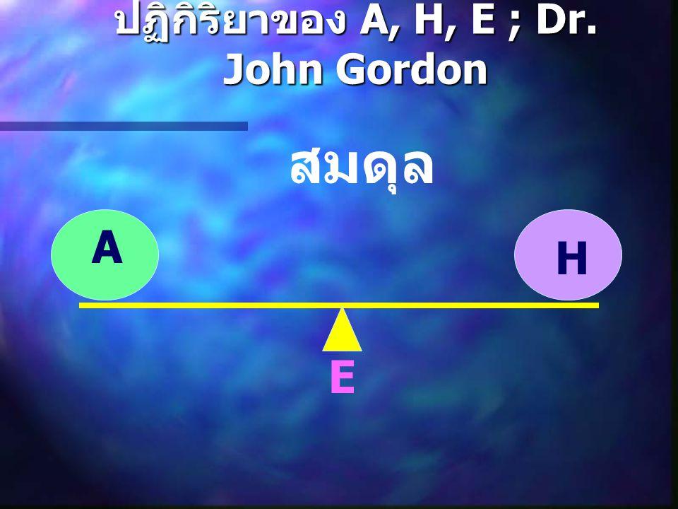 ปฏิกิริยาของ A, H, E ; Dr. John Gordon A H E สมดุล